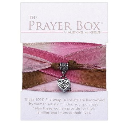 Silk Wrap Prayer Box Bracelet, Heart, Tan and Pink  -