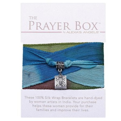 Silk Wrap Prayer Box Bracelet, Square, Blue and Green  -