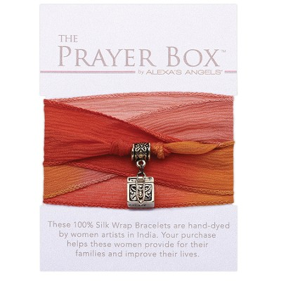 Silk Wrap Prayer Box Bracelet, Square, Orange  -