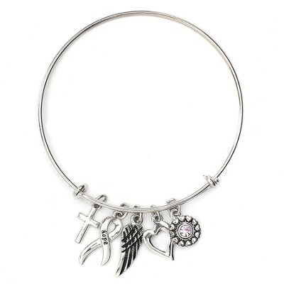 Believe For A Cure, Bangle Charm Bracelet, Rhodium  -