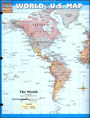 Quick Study, World and U.S. Map   -