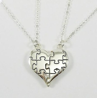 Puzzle Piece Split Heart Rhodium Plated-Genesis 31:49  -