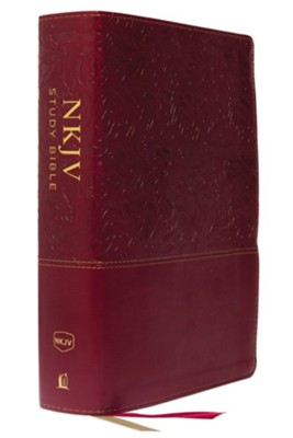 NKJV Comfort Print Full Color Study Bible, Imitation Leather, Red, Indexed  -