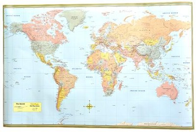 World Map Poster (Laminated) 50 x 32
