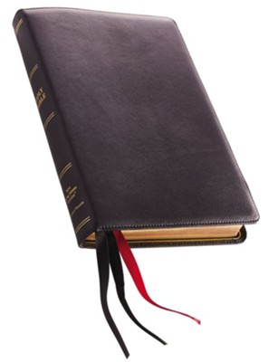NKJV Comfort Print Thinline Reference Bible, Large Print, Premium Leather, Black, Sterling Edition  -