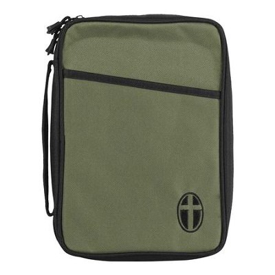 Canvas Bible Cover, Olive Green with Cross, Large  -