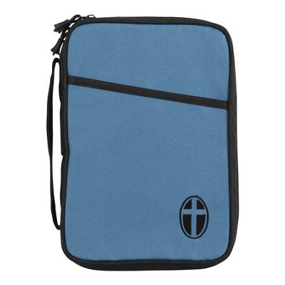 Canvas Bible Cover, Slate Blue with Cross, Thinline  -