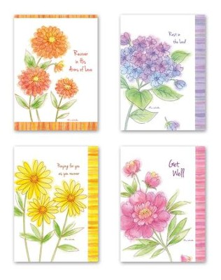 Floral Get Well Cards, Box of 12  -     By: Tina Wenke