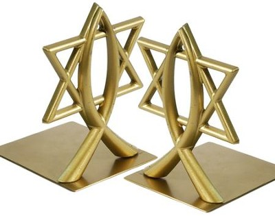 Ichthus and Star of David, Brass Bookends   -