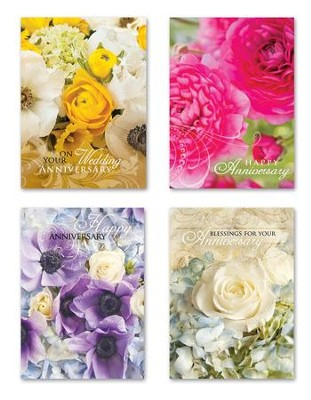 Anniversary Shared Blessings, Floral Cards, Box of 12  -     By: Rebecca Swanson