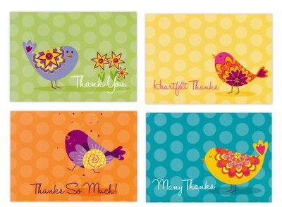 Feathered Friends, Thank You Cards, Box of 12  -