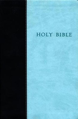 NLT Premium Value Large-Print Slimline Bible--soft  leather-look, chocolate/blue  -