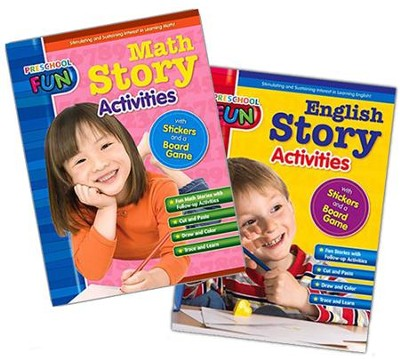 Preschool Fun - English and Math Story Activities Bundle  -