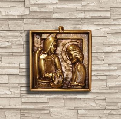 Solid Brass Stations of the Cross, Set of 14 Plaques  -