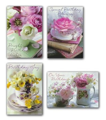 Teacup Wishes Birthday Cards, Box of 12 (KJV)   -