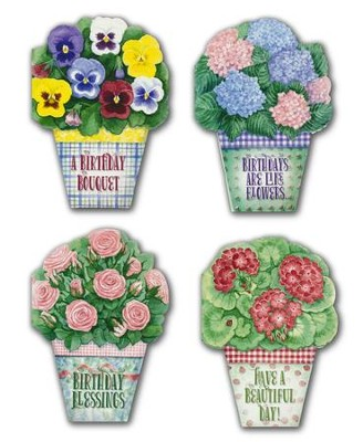 Potted Posies Birthday Cards, Box of 12    -