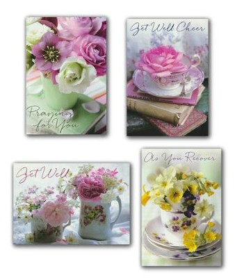 Teacup Wishes, Get Well Cards, Box of 12 (KJV)   -
