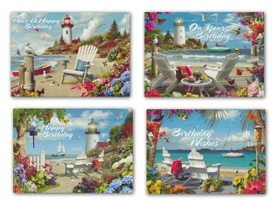 Coastal Adirondack Chairs, Box of Birthday Cards  -