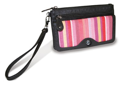 Wristlet Wallet with Cross Emblem, Pink Stripes  -