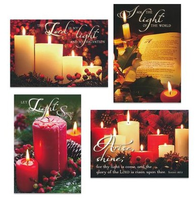 Christmas Candles, Assorted Christmas Cards, Box of 12  -