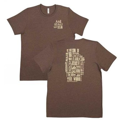 Names of Jesus Shirt, Brown, Small  -
