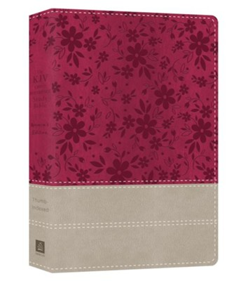 KJV Cross Reference Study Bible, Women's Edition--soft leather-look, floral berry/gray (indexed)  -     By: Christopher Hudson