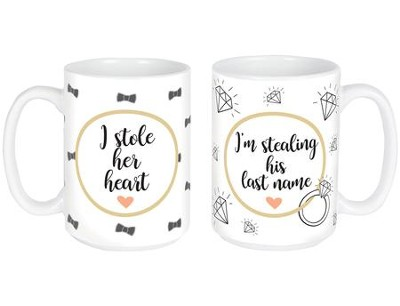 Her Heart, His Name Engagement Mug Set  -