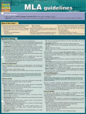 MLA Guidelines, Laminated Guide  -