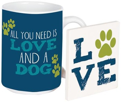 Love & A Dog Mug & Coaster Set  -