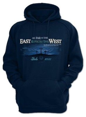 As Far As the East Is From the West, Hooded Sweatshirt, Navy, Small  -