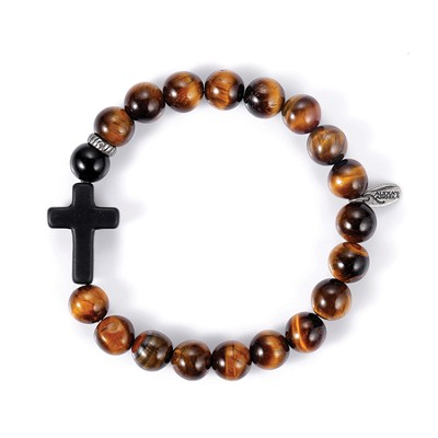 Men's Faith Bracelet, Black, Tiger Eye Glass Gemstones  -