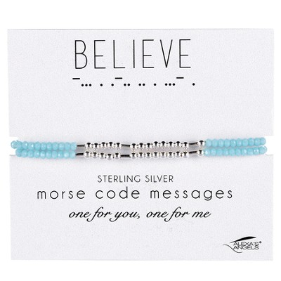 Believe, Morse Code Friendship Bracelet, Blue  -