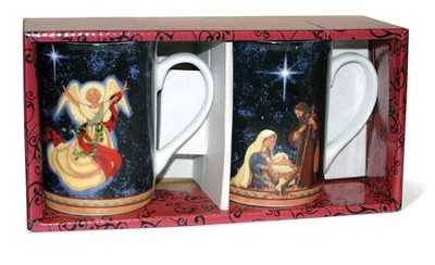 Holy Family and Angel Mugs, Set of 2  -