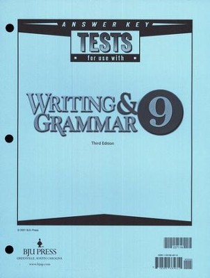 BJU English Grade 9 Test Answer Key 3rd Edition    -