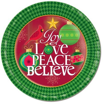Joy Love Peace Believe Paper Plates, Pack of 8  -