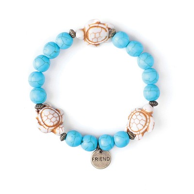 Turtle, Children's Friendship Bracelet, Friend, Blue, White  -