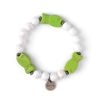 Fish, Children's Friendship Bracelet, Faith, Green, White  -