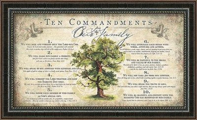 The Commandments For Our Family Framed Art  -