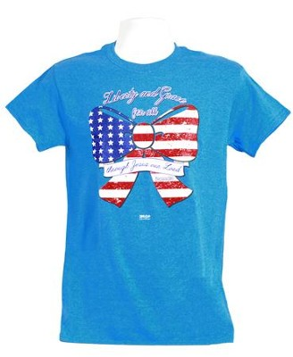 God Bless America Bow 2 Shirt, Heather Blue  Small  -