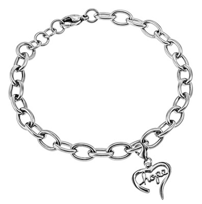 Hope Handwriting Heart Bracelet, Adjustable  -