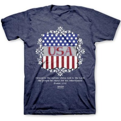 USA Shield Shirt, Heather Navy,  Medium  -