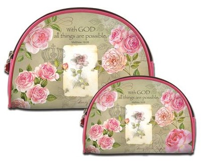 With God All Things Are Possible, Cosmetic Duo Bags  -     By: Sandy Lynam Clough