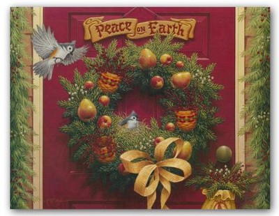 Peace on Earth Wreath, Christmas Cards, Box of 18  -