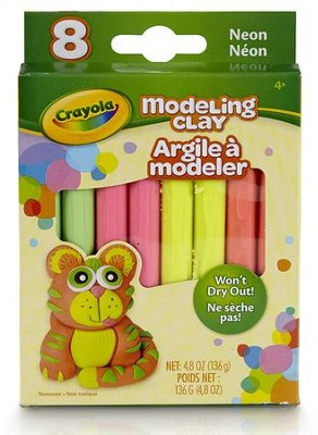 Modeling Clay, Neon Color Assortment, 8 Piece  -