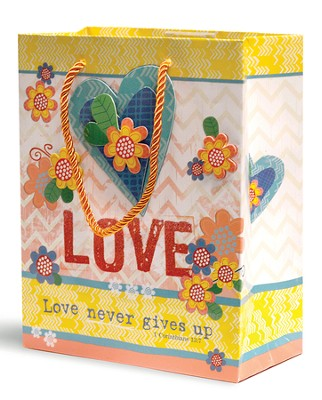 Love Never Gives Up Gift Bag, Medium  -