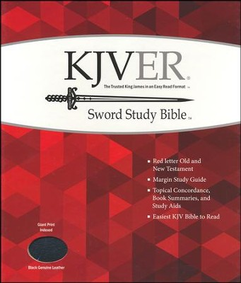KJVer (Easy Reader) Giant Print Sword Study Bible, Genuine Leather Black, Thumb Indexed  -