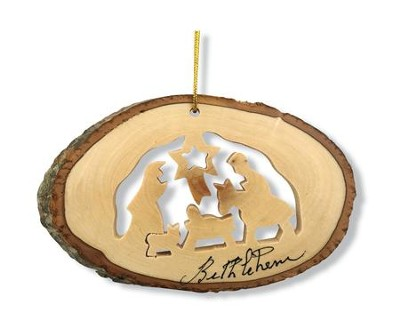 Nativity with Bark Trim Ornament  -