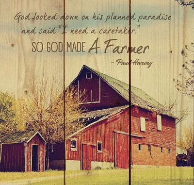 God Made a Farmer, Striped Rustic Wall Art  -