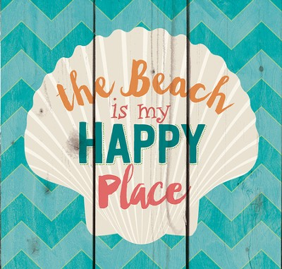 The Beach is My Happy Place, Rustic Wall Art  -