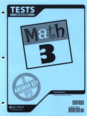 BJU Math Grade 3 Tests Answer Key, Third Edition    -